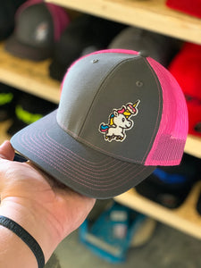 SNAP BACK TRUCKER HAT WITH SPRINKLES THE UNICORN ON LEFT PANEL
