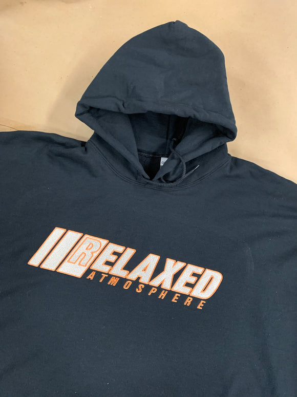 BLACK RELAXED EMBROIDERED HOODIE WITH LOGO ON FRONT CREAM FILL COPPER OUTLINE