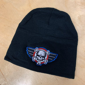 BLACK NO BRIM BEANIE WITH RED WHITE BLUE 25th ANNIVERSARY LOGO