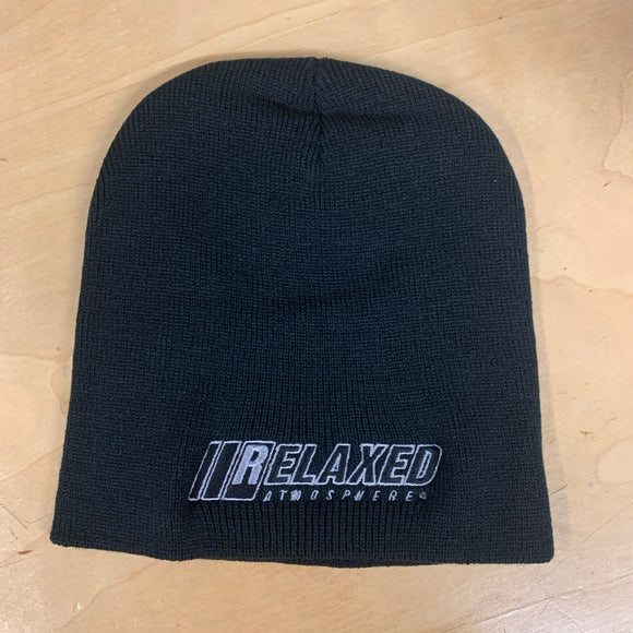 RELAXED FULL LOGO BLACK NO BRIM BEANIE WITH SILVER OUTLINE AND BLACK FILL