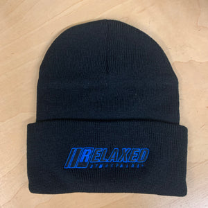 RELAXED FULL LOGO BLACK BRIMMED BEANIE WITH BLUE OUTLINE AND BLACK FILL