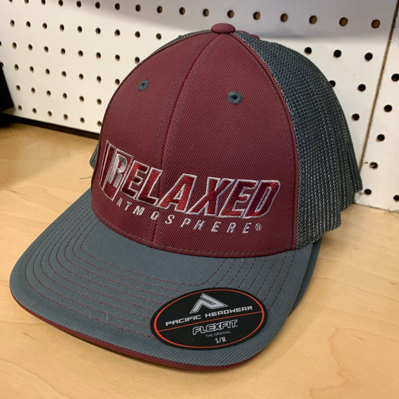 RELAXED FULL LOGO ON PACIFIC HEADWEAR MAROON/GRAPHITE CURVED BILL