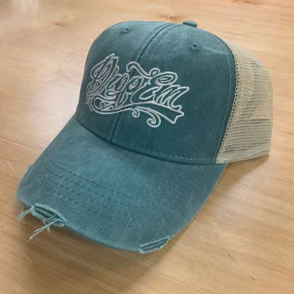SNAP BACK DISTRESSED TRUCKER HAT TEAL/KHAKI WITH TATTOO SCRIPT LOGO ON FRONT