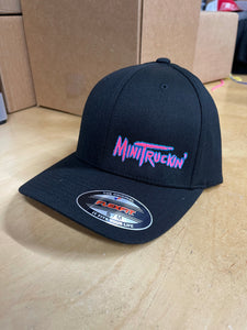 BLACK CURVED BILL FLEX FIT HAT WITH OG MINITRICKIN LOGO (PINK/BLUE)