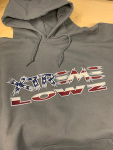 GREY XTREME LOWZ EMBROIDERED AMERICAN FLAG LOGO HOODIE