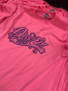 NEON PINK SHIRT WITH PURPLE TATTOO SCRIPT FRONT PRINT