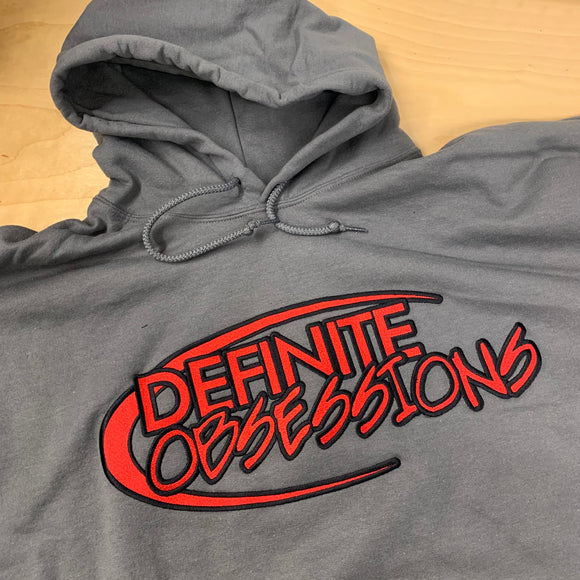 GREY DEFINITE OBSESSIONS EMBROIDERED LOGO HOODIE