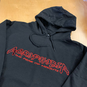 BLACK EMBROIDERED ACRO HOODIE BLACK FILL WITH RED OUTLINE