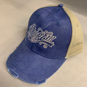 RESSED TRUCKER HAT ROYAL/KHAKI WITH TATTOO SCRIPT LOGO ON FRONT