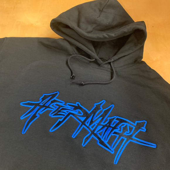 BLACK EMBROIDERED AFTERMATH HOODIE BLACK FILL WITH ROYAL OUTLINE