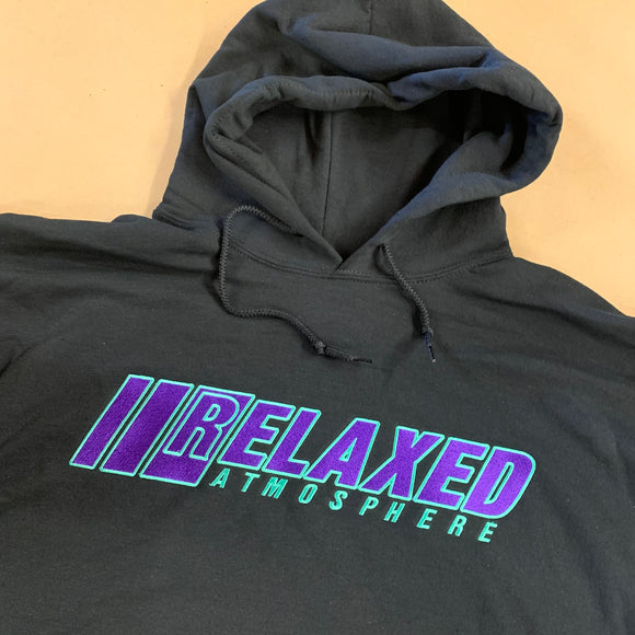 BLACK RELAXED EMBROIDERED HOODIE WITH LOGO ON FRONT PURPLE FILL TEAL OUTLINE