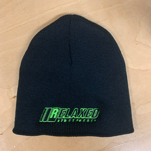 RELAXED FULL LOGO BLACK NO BRIM BEANIE WITH LIME OUTLINE AND BLACK FILL