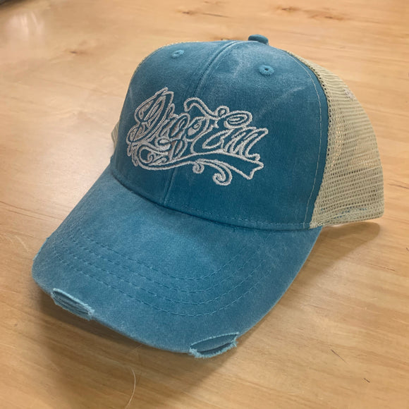 SNAP BACK DISTRESSED TRUCKER HAT BLUE/KHAKI WITH TATTOO SCRIPT LOGO ON FRONT
