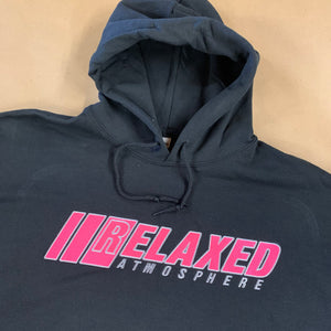 BLACK RELAXED EMBROIDERED HOODIE WITH LOGO ON FRONT PINK FILL WHITE OUTLINE