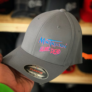 GREY CURVED BILL FLEX FIT HAT WITH MINITRUCKIN IS NOT DEAD