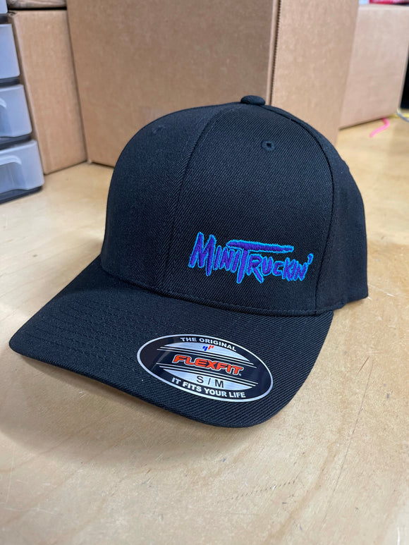 BLACK CURVED BILL FLEX FIT HAT WITH OG MINITRICKIN LOGO (BLUE/PURPLE)