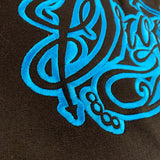 BLACK EMBROIDERED HOODIE WITH NEON BLUE TATTOO SCRIPT LOGO