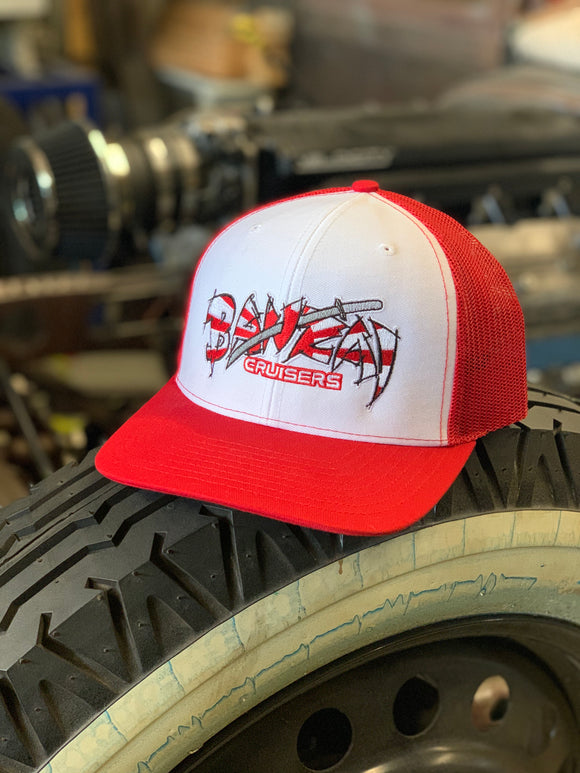 WHITE FRONT/RED BACK BANZAI SNAP BACK TRUCKER HAT