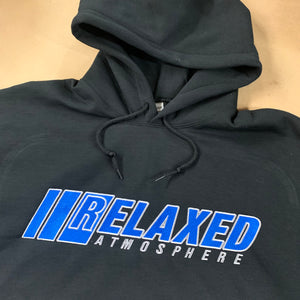 BLACK RELAXED EMBROIDERED HOODIE WITH LOGO ON FRONT BLUE FILL WHITE OUTLINE