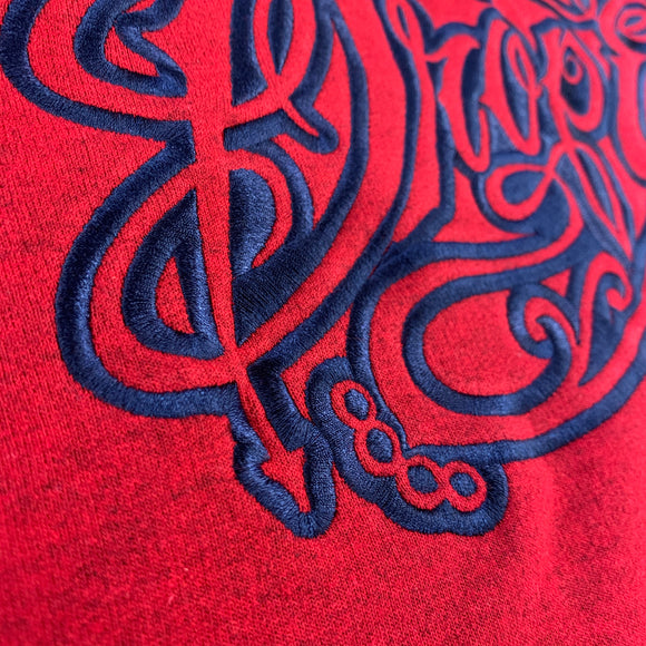 HEATHERED RED EMBROIDERED HOODIE WITH NAVY TATTOO SCRIPT LOGO