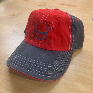 VELCRO BACK UNSTRUCTURED HAT DARK GREY/RED with SKULL AND CROSSBONES