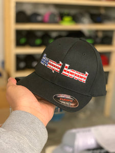 GROUND LEVEL AMERICAN FLAG LOGO ON A BLACK CURVED BILL HAT