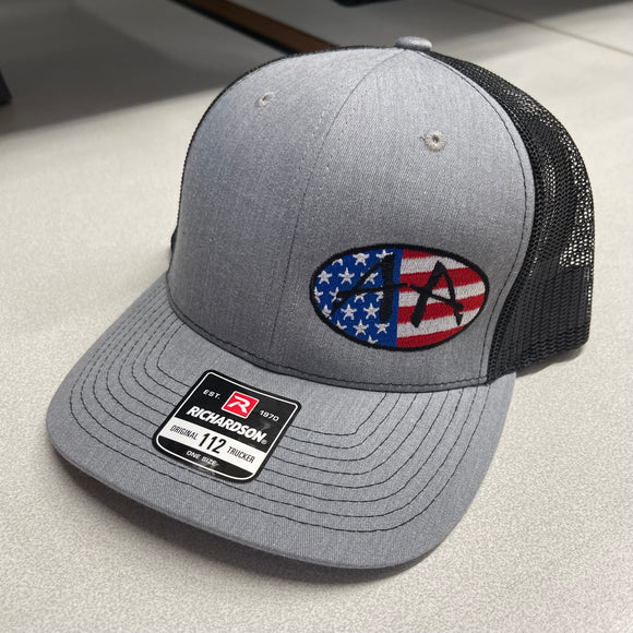 ACROPHOBIA HEATHER/BLACK SNAP BACK HAT WITH AMERICAN FLAG AA OVAL LOGO