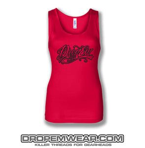 LADIES TANK TOP RED WITH BLACK LOGO