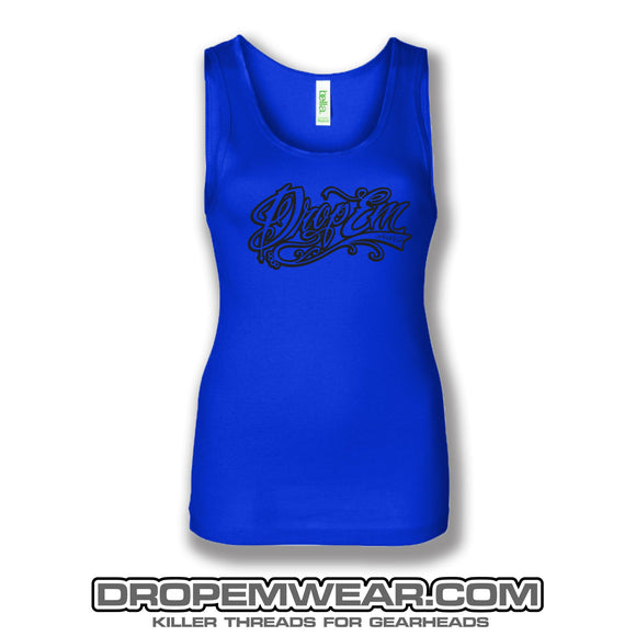 LADIES TANK TO BLUE WITH BLACK LOGO