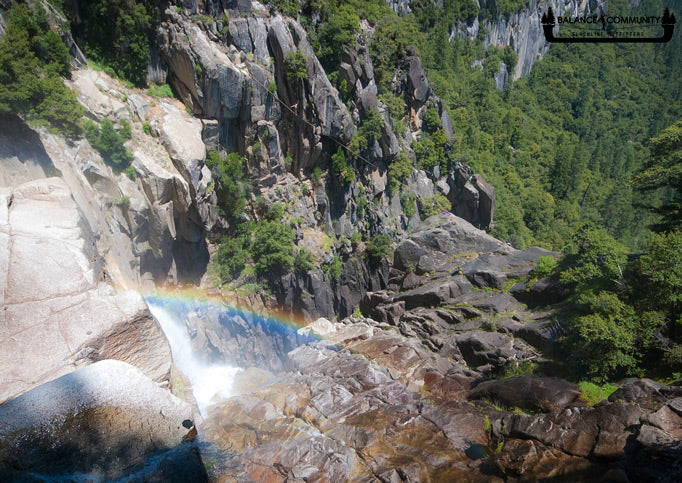 Rainbow while cruising Cascade Falls Highline - Photo by Jordan Tybon