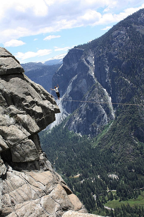 Soaking in the exposure on the Yosemite Falls Highline