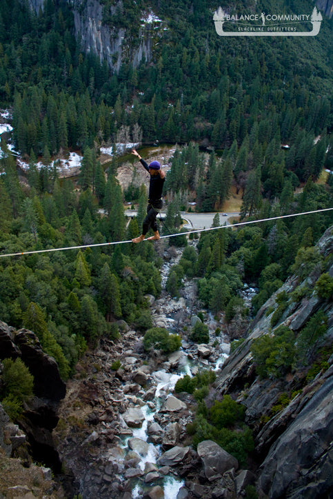 Looking down on the Cascade Falls Highline