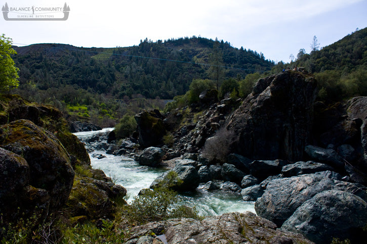 Raging American River below this amazing highline