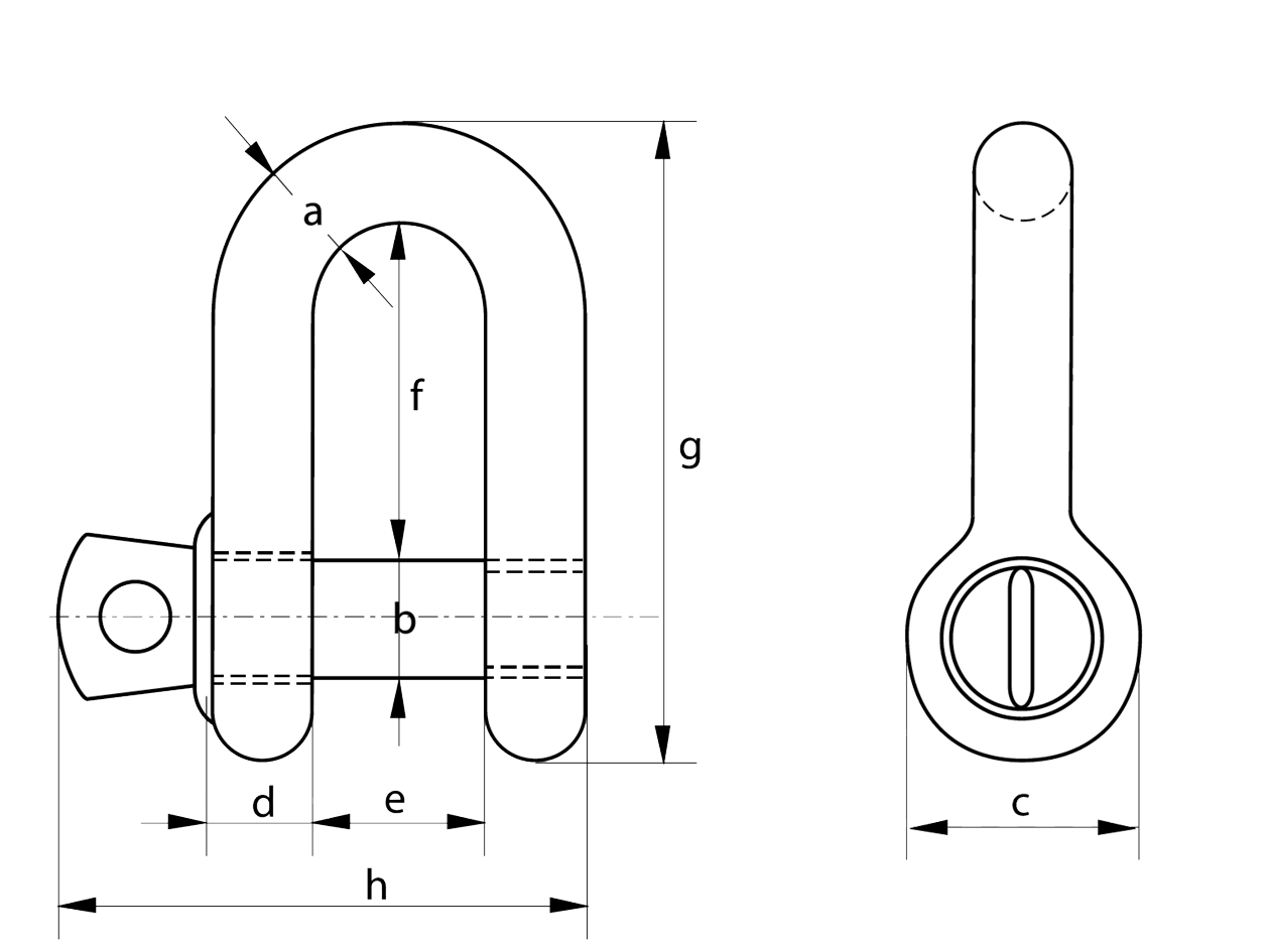8mm Dee Shackle Dimensions