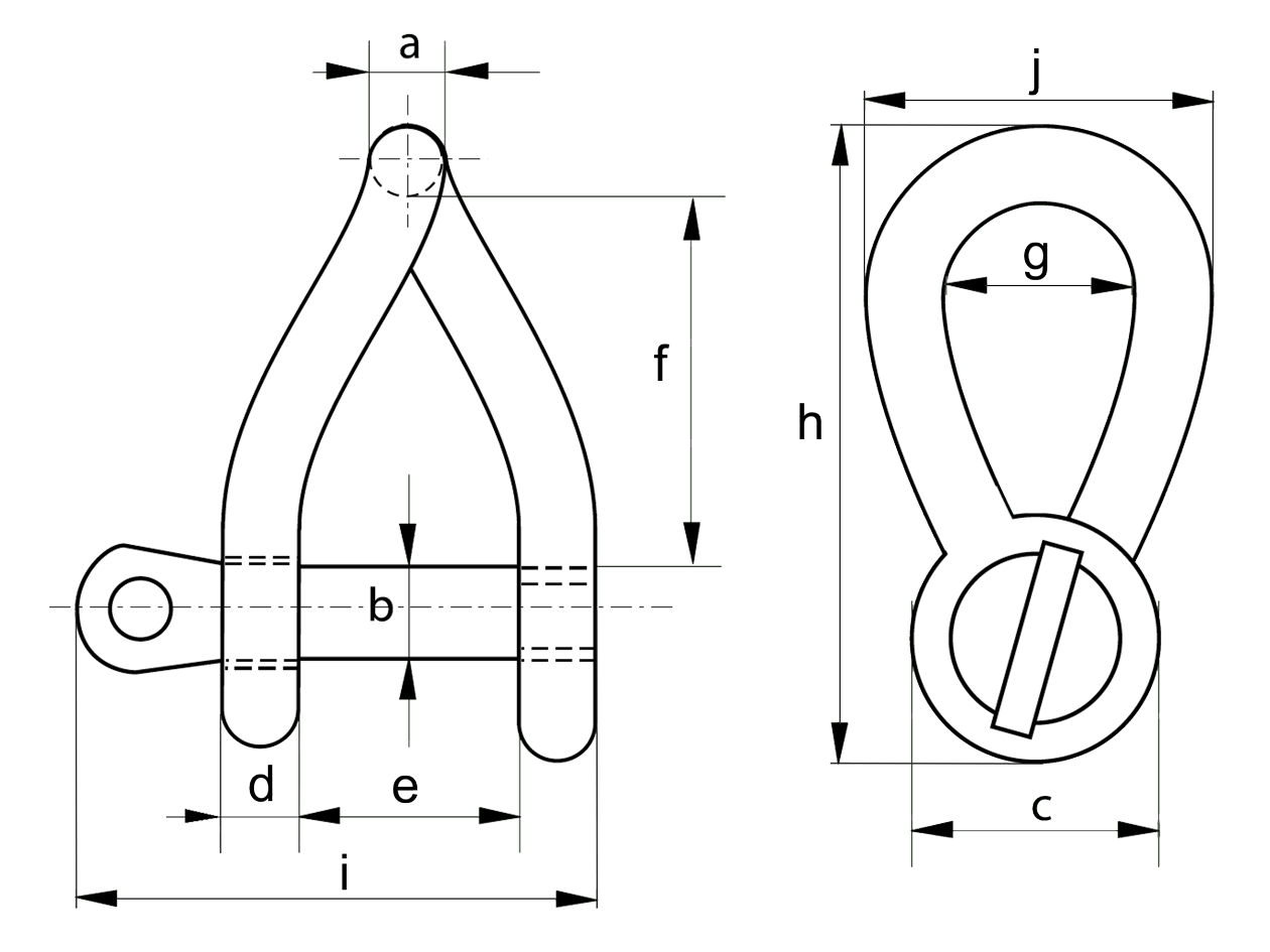 11mm Twist Shackle Dimensions