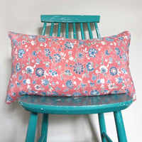 Pink Floral Silk Cushion Cover. Recycled Kimono
