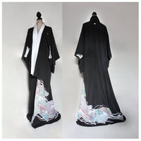 Vintage Silk tomesode Kimono Gown for Woman. black. Tall XS/S/M