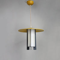 Midcentury Danish pendant light, grey, yellow