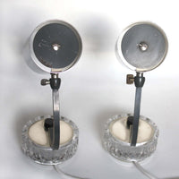 1970s mid century Modern bedside table lamps. chrome glass