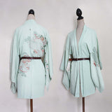 Vintage silk haori jacket/ gown. Mint green, floral brocade