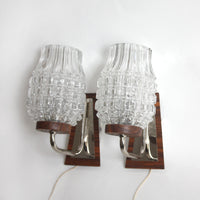Pair of 1960s midcentury modern wall lights. pineapple glass, chrome, teak