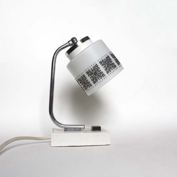1 of 3, 1970s white chrome mid-century modern bedside table lamps