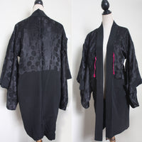 Vintage Silk Haori Jacket. Black, red, silver, gol