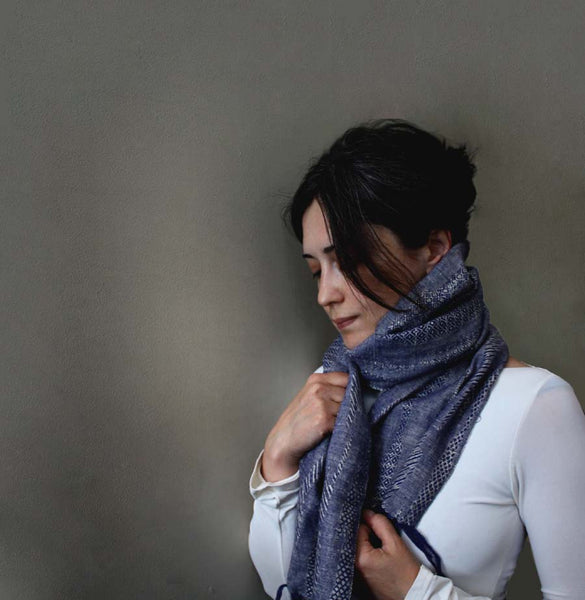 Sand and Sky Unisex Summer Scarf. Blue/ grey. Woven Linen.