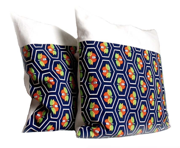 Blue Orange Decorative Pillow Covers  20x20''