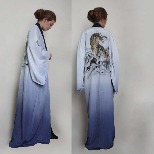 Vintage silk kimono /Gown. Ombre blue hand painted Tiger