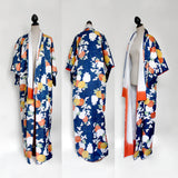 Vintage blue orange floral kimono, one size XS/S/M