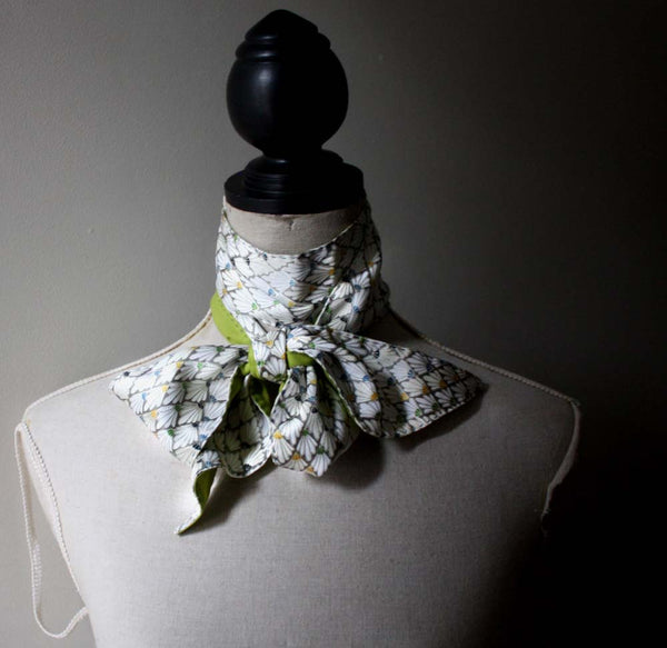 Extra Long Skinny Silk Scarf. Organic Lime Green Batiste and Vintage Kimono Silk.
