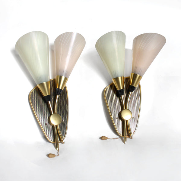 Pair of 1950s modern gold, pastel pink/yellow glass
