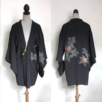 Vintage Silk Haori Jacket. Black, teal leaves, red berries. Small-Medium